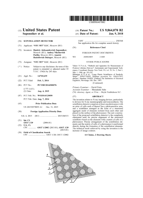 United States Patent 9864070 B2-9.01.2018. Scintillation Detector