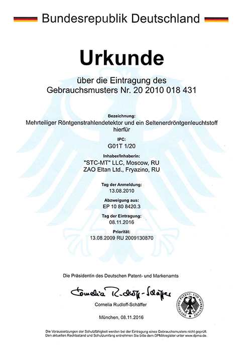 Germany Patent Nr. 20 2010 018 431. Multi-element x-ray detector, its rear-earth luminescent materials, production of multi-element scintillator and detector in general