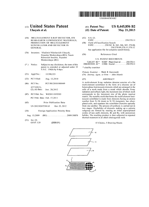 United States Patent 8445856 B2. Multi-element x-ray detector, its rear-earth luminescent materials, production of multi-element scintillator and detector in general